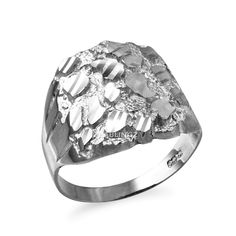 Sterling Silver Sparkle Cut DC Unisex Nugget Ring Product Information: Metal: 925 Sterling Silver Weight: grams Top Band Width: inch Bottom Band Width: inch Finish: Diamond Cut - High Polished Ring Style: Hollowed back Made in Los Angeles, CA Silver Necklaces, Silver Jewelry, Top Band, Gold Sparkle, White Gold Rings, Fashion Rings, Diamond Cuts, Sterling Silver Rings, Rings For Men