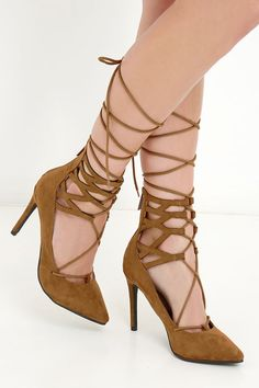 Sweet Life Tan Lace-Up Heels at Lulus.com!