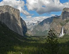 Yosemite National Park- I have been here.   My sister and I stopped here on a road trip up the coast from San Diego to Mount St. Helens. We went in March and ended up sleeping in a summer tent in the snow. I recommend bringing supplies to start a fire and plenty of warm clothing if you go in the winter/ spring season. I will absolutely be going back to Yosemite now that I'm into climbing. The beauty of the area is absolutely breathtaking and inspiring.