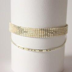 Bracelet tissé perles miyuki / blanc