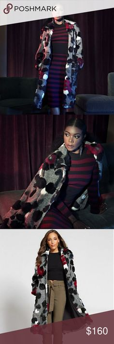 CK  GABRIELLE UNION COLLECTION - FAUX-FUR Multicolored faux-fur add a dramatic (and unexpected) accent to this striking tweed statement coat.  Convertible collar.Button-front closure.Front slash pockets.Back vent.Lined. New York & Company Jackets & Coats Trench Coats