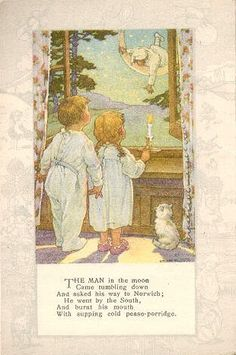 Clara M. Vintage Children's Books, Vintage Postcards, Nursery Rymes, Nursery Rhymes Poems, Children's Book Illustration, Book Illustrations, Poetry For Kids, Pomes, Kids Poems