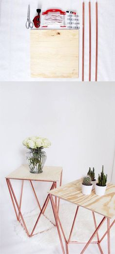 Mesa DIY con tabla y tubos de cobre - madmoisell.com - DIY Himmeli Table