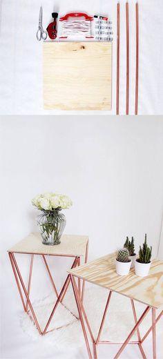 Mesa DIY con tabla y tubos de cobre - madmoisell.com - DIY Himmeli Table