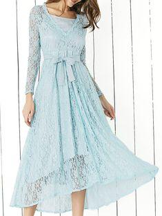 Lace Long Sleeve Swing Wedding Evening Dress, BLUE, XL in Lace Dresses   DressLily.com