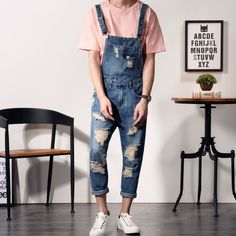 Cheap jumpsuits designer, Buy Quality jumpsuit catsuit directly from China jumpsuit denim Suppliers: 2017 New Mens Bib Overalls Fashion Ankle Length Denim Overalls Men Ripped Jeans Male Denim Jumpsuit Ripped Jeans Outfit, Ripped Jeans Men, Denim Outfit, Men's Jeans, Cute Overalls, Denim Overalls, Overalls Fashion, Denim Fashion, Jumpsuit Outfit
