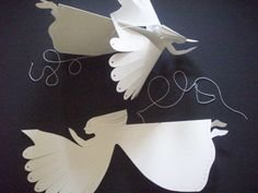 Paper ThingsThree Flying Angels by LorenzKraft on Etsy Origami Paper, Diy Paper, Paper Art, Paper Crafts, Diy Crafts, Christmas Angels, Christmas Crafts, Christmas Decorations, Christmas Ornaments