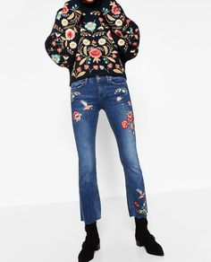 Image 6 of EMBROIDERED CROPPED JEANS from Zara