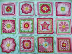 Sampler Afghan using variations of the Kata Square. (See Motifs.) Project linked to detailed Ravelry page of each block.  Great color distribution. Project done as Ravelry forum  Favorite Block (12 inch) CAL (link to Ravelry forum & weekly blocks on page directly linked). [NCS]