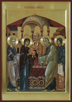 Meeting of our Lord God and Savior Jesus Christ in the Temple Religious Pictures, Religious Icons, Religious Art, Byzantine Art, Byzantine Icons, Jesus In The Temple, Rosary Mysteries, Church Icon, Religious Paintings