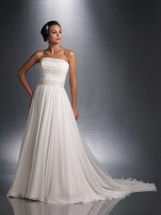 Chiffon Strapless Finely Pleated Bodice A-line Wedding Dress