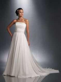 Chiffon Strapless Finely Pleated Bodice A-line Wedding Dress