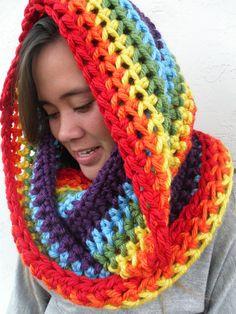 Extra Big Rainbow Infinity Scarf by Tejidos