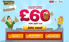 UK bingo site Robin Hood Bingo will give you £60 on your £10. Play free bingo games & win free money from the site.  http://www.thebingoonline.com/sites/robin-hood-bingo/