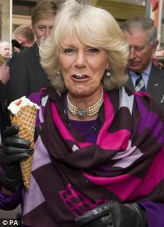 The Duchess of Cornwall clearly enjoying an ice cream cone in Elsinore, Denmark.