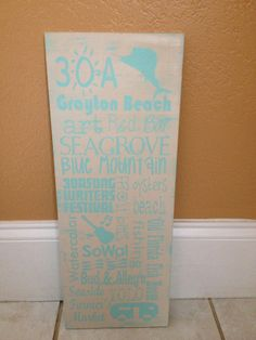 Distressed Wooden 30A Seaside Sign by SwirlyTwirlyDesigns on Etsy, $50.00