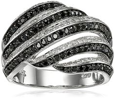 Sterling Silver Diagonal MultiRows Black and White Diamond Ring 34 cttw IJ Color I2I3 Clarity Size 7 ** Check out this great product.(This is an Amazon affiliate link and I receive a commission for the sales)