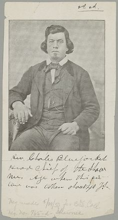 Charles Bluejacket - Shawnee/Wyandot - c. 1860-1879 Son of George Blue Jacket Indian name - Kal-we. He married 3 times & is said to have 23 children. To date, we can account for 20. He became a Methodist minister at the Shawnee Methodist Mission in Kansas City, translated sermons for the Shawnee with Charles Journeycake for the Delaware. Charles was a gov. interpreter & last chief of the Shawnee tribe. His interpretative skills were used at the signing of the 1854 Shawnee Treaty in…