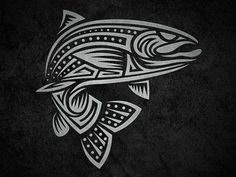 """Tribal Trout designed by Fernando """"Calakka"""" Regalado. Connect with them on Dribbble; Phoenix Tattoo Design, Skull Tattoo Design, Dragon Tattoo Designs, Tribal Tattoo Designs, Tattoo Phoenix, Tribal Animal Tattoos, Tribal Animals, Tribal Sleeve Tattoos, Wing Tattoos"""