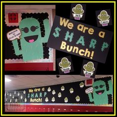"We are a Sharp Bunch Bulletin Board - This first grade bulletin board with a cactus theme is an adorable way to welcome your new students to a new school year and teach about multiple meaning words at the same time. ""I printed out … Classroom Freebies, Classroom Walls, Classroom Displays, School Classroom, Classroom Themes, Classroom Activities, Classroom Environment, Welcome Bulletin Boards, Back To School Bulletin Boards"