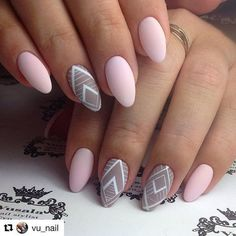 Matte-y Nude Geometric Nail Art. This nail art is borrowed by vu_nail, that is one of the famous pages on Instagram for nails and stuff.