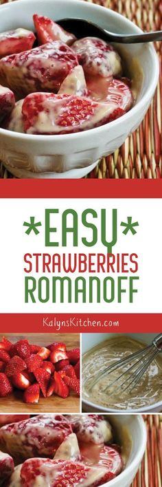 Easy Strawberries Romanoff is a fun dessert I learned to make when I worked at Le Parisien restaurant in Salt Lake, now long closed. I use a mix of sweetener and brown sugar (or all sweetener) for a bit less carbs, and I love this for a treat when fresh strawberries come into season.  [found on KalynsKitchen.com]