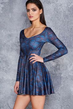 Zombie Invisible Long Sleeve Skater Dress - 48HR ($99AUD) by BlackMilk Clothing