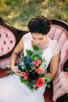 Swooned: Thrice Romantic: A Flower-Filled Bridal Fashion Shoot at the Chapel at…