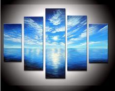 De la mano obras de arte pintadas de color azul océano nubes blancas listo para colgar de la pared