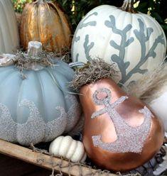 Fall coastal themed pumpkins.
