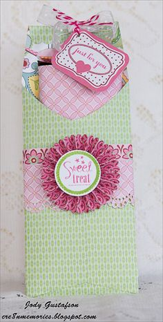 by Jody Gustafson... candy bar treat holder; then add a cute personalized lablel on the  candy bar, pretty simple to make, but an effective design