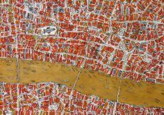Barbara MacFarlane - Ochre London Map,  2013, Ink and Oil on handmade paper