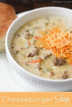 Cheeseburger Soup-Made this last night...very tasty. I made a cheesy white sauce out of the butter, flour, milk,and cheese and used real cheddar cheese instead of velveeta. I started this on the stove, them put in crockpot to finish cooking and added the