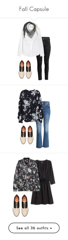 Fall Capsule by melannbarrett on Polyvore featuring polyvore, fashion, style, H&M, clothing, women's fashion, shoes, boots, ankle booties, oxfords, black oxfords, lace up oxfords, black oxford shoes, oxford lace up shoes, black laced shoes, accessories, scarves, h&m shawl, woven scarves, h&m scarves, fringe shawl, fringe scarves, outerwear, jackets, zip jacket, green zipper jacket, stand collar jacket, utility jacket, zipper jacket, floral print jacket, floral jackets, flower print jacket…
