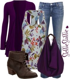 """""""Floral & Deep Purple"""" by steffiestaffie ❤ liked on Polyvore"""