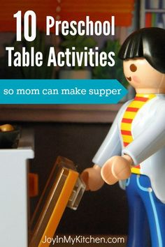 Here are 10 preschool table activities to keep kids busy while you make supper. You know they're going to wreck the house unless you direct that energy!