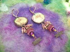 Broken China Earrings Rustic Yellow Roses by GratefulBeads on Etsy, $30.00