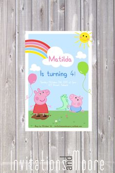 Girls Peppa Pig Invitation. DIY - Printable on Etsy, $15.00 AUD