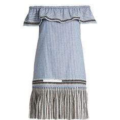 Lemlem Amara off-the-shoulder striped dress (2,270 CNY) ❤ liked on Polyvore featuring dresses, blue multi, embroidered dress, off the shoulder dress, summer dresses, striped summer dress and cotton summer dresses