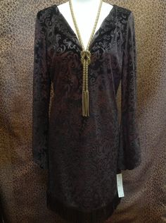 Boho Chic - Chocolate brown velvet long sleeve dress with fringe - $109