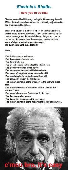Einstein logic problem.