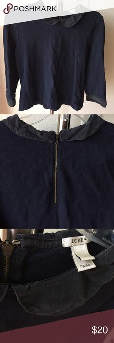 J crew Peter Pan collar sweater Navy blue sweater with Peter Pan collar. Zipper detail on back. And same material used for collar on the sleeves. J. Crew Sweaters Crew & Scoop Necks
