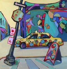 Daily Painting Follow That Car contemporary abstracted urban scene, painting by artist Carolee Clark