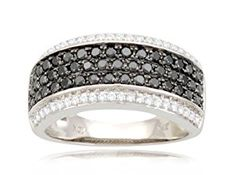 10k White Gold Band Style White and Black Diamond Ring (9/10 cttw, I-J Color, I2-I3 Clarity), Size 6  http://electmejewellery.com/jewelry/rings/bands/10k-white-gold-band-style-white-and-black-diamond-ring-910-cttw-ij-color-i2i3-clarity-size-6-com/