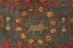 Morceau du suaire [shroud] de Saint Lazare d'Autun. Beginning 11th c. Almeria, Cordova, Spain. Silk taffeta ground w/silk & gold embroidery.