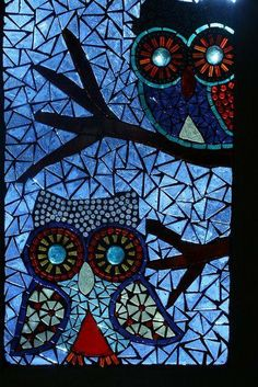 Owls stained glass art