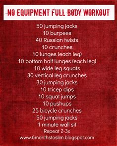 no equipment workout. good for vacations!