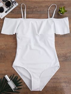 SHARE & Get it FREE | Off The Shoulder Flounced One-Piece Swimwear - WhiteFor Fashion Lovers only:80,000+ Items • New Arrivals Daily Join Zaful: Get YOUR $50 NOW!
