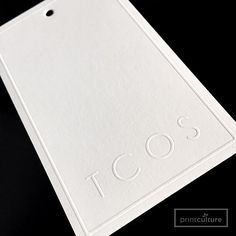 Embossed Swing Tags on 320gsm Reno