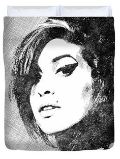Amy Winehouse Bw Portrait Duvet Cover by Mihaela Pater